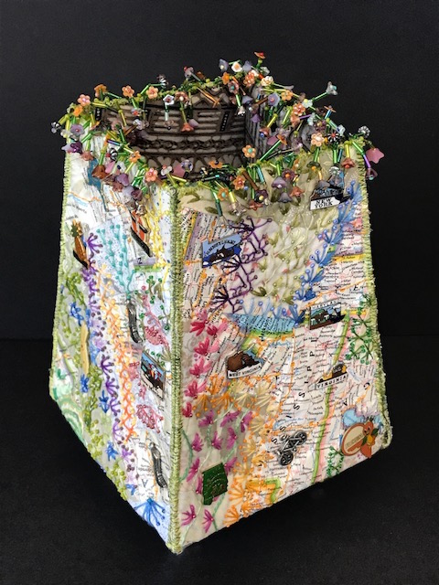 Gorgeous beaded and embroidered container by Pat Herkal