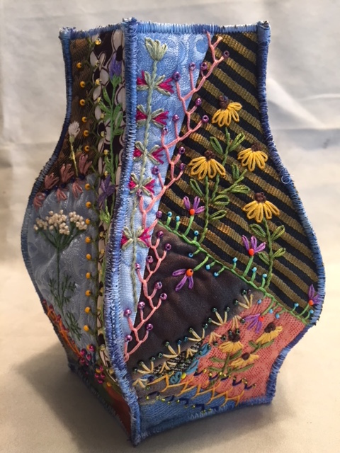 Embroidered and beaded vessel by Pat