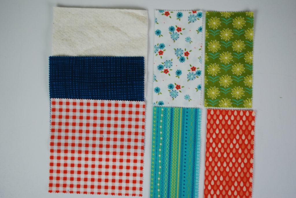 Selecting the fabrics to make the mug rugs