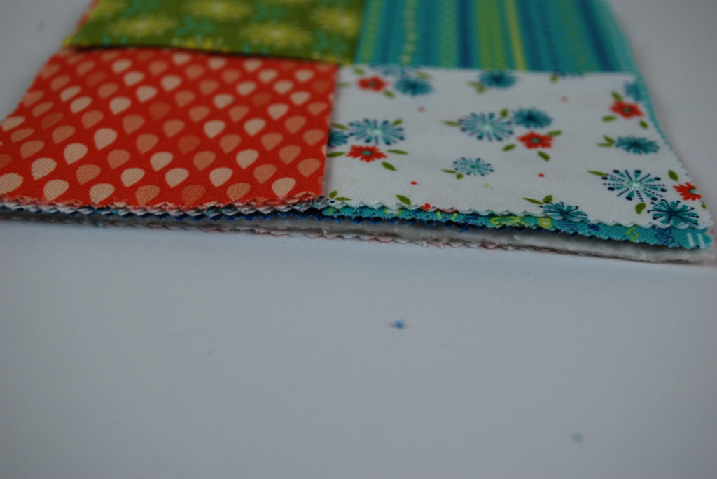 Side view of the layers that will be sewn together