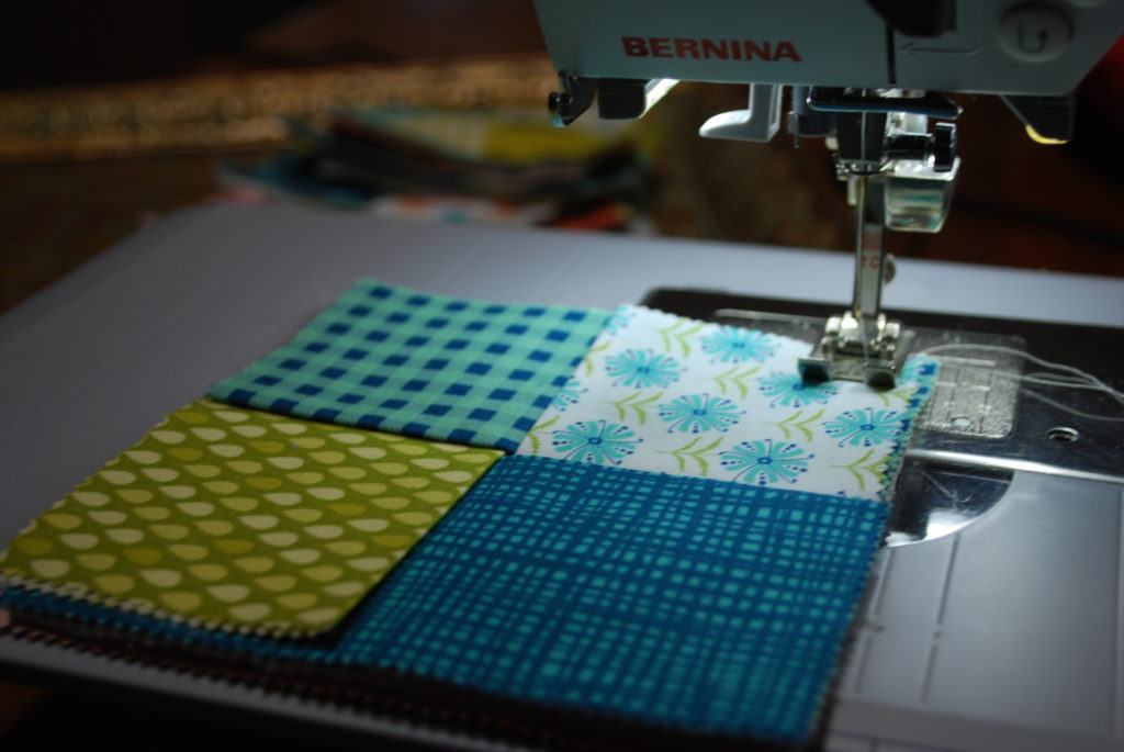 Sew around all four sides of the coaster