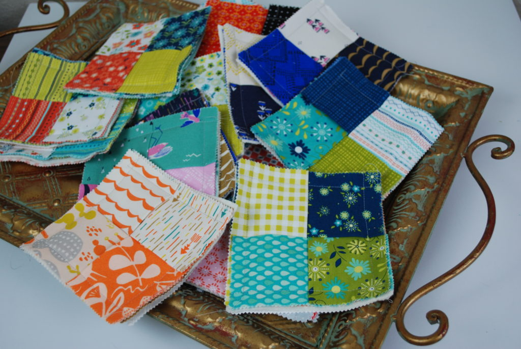 All of my pretty combinations of fabrics for these coasters
