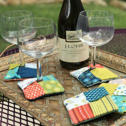 Finished wine coasters that double as mug rugs