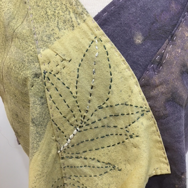 Naturally Dyed, eco print top with hand stitched design elements