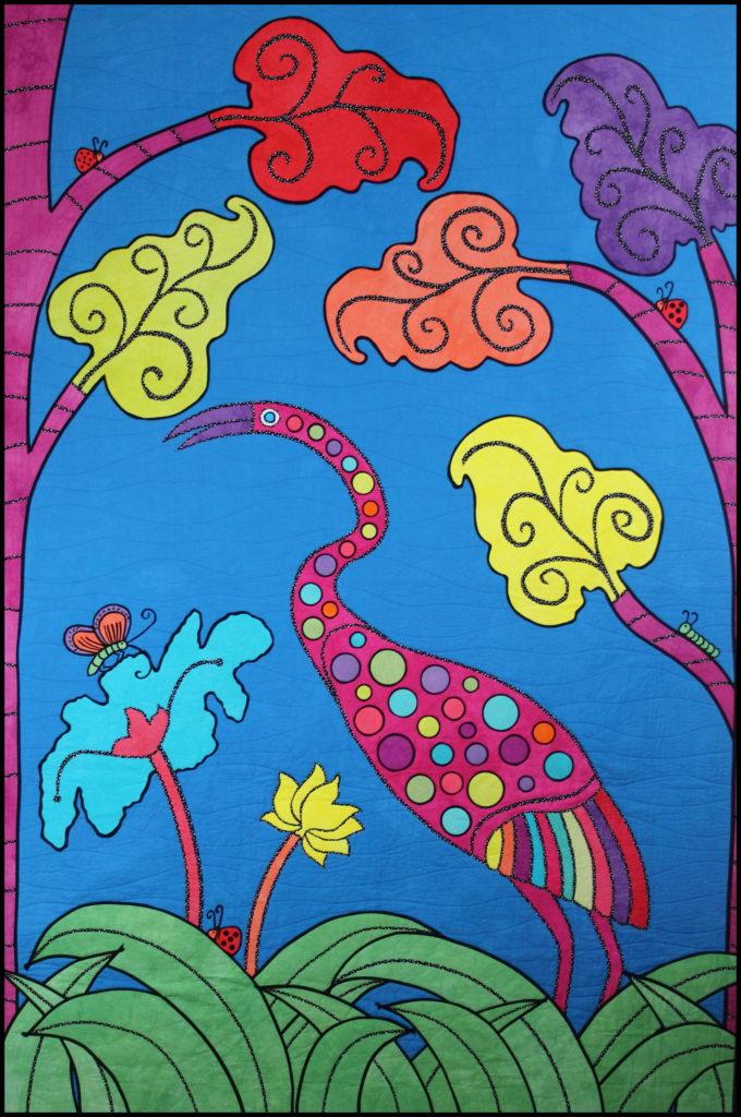 Heron art quilt