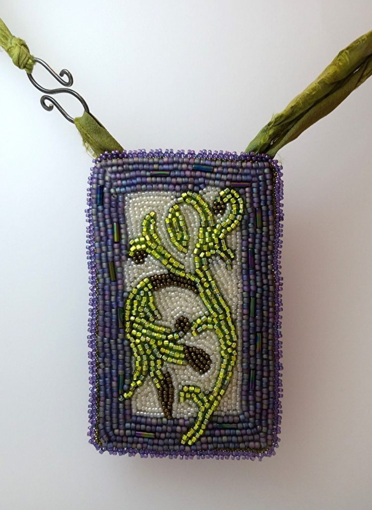 A Fine Vine necklace made with bead embroidery techniques