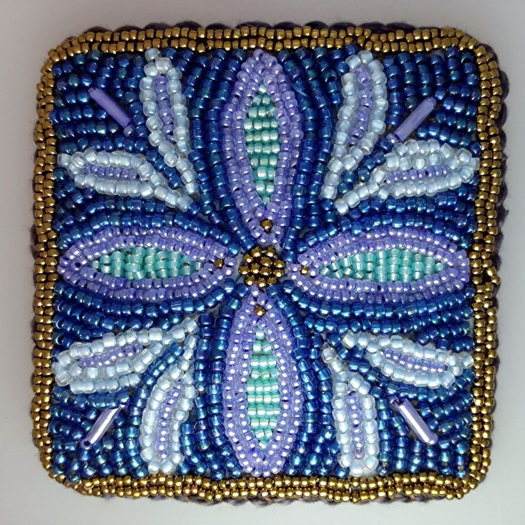 Bead Embroidered Flower Brooch