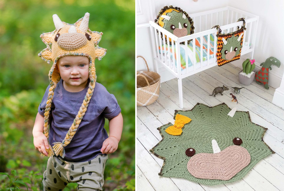 Rhino crocheted hat and rug