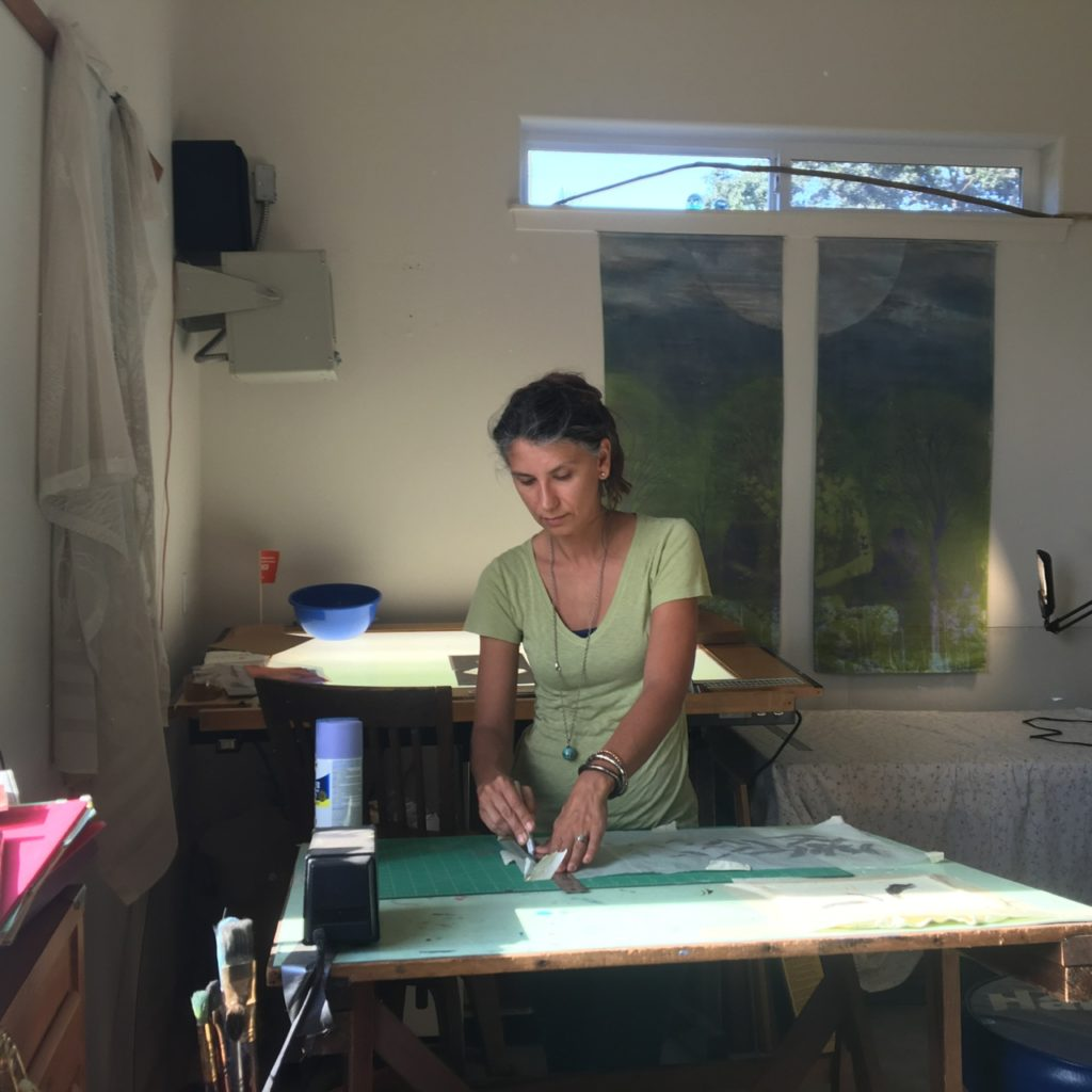 At work inside her studio