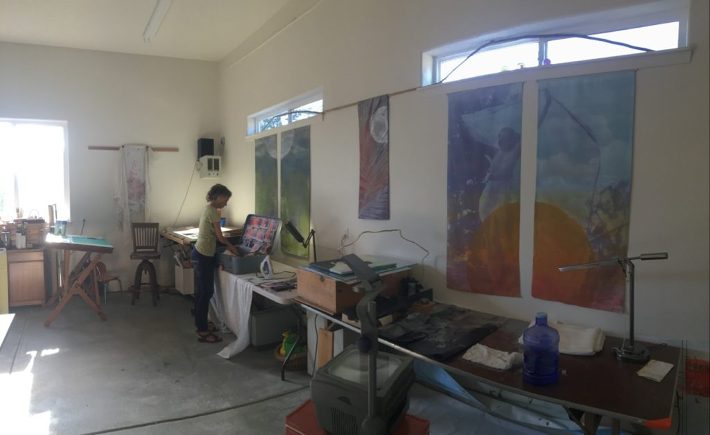 Sharon at work in her studio