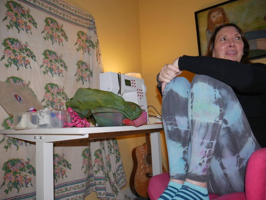 Karen at her sewing machine