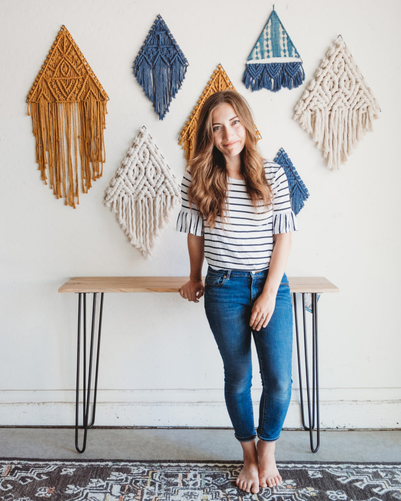 Lindsey and some of her weavings