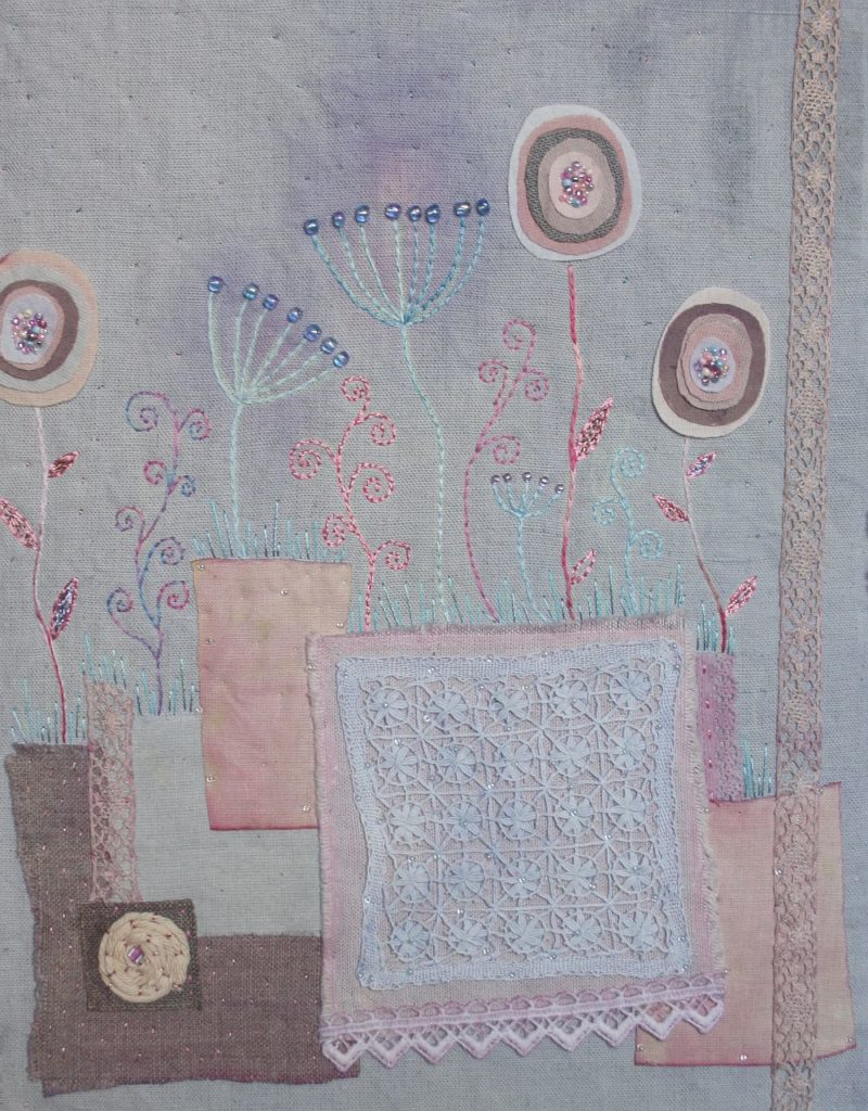 Summer evening vintage botanic embroidery