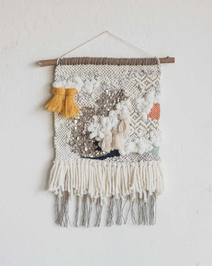 Twill sequin weaving wall hanging