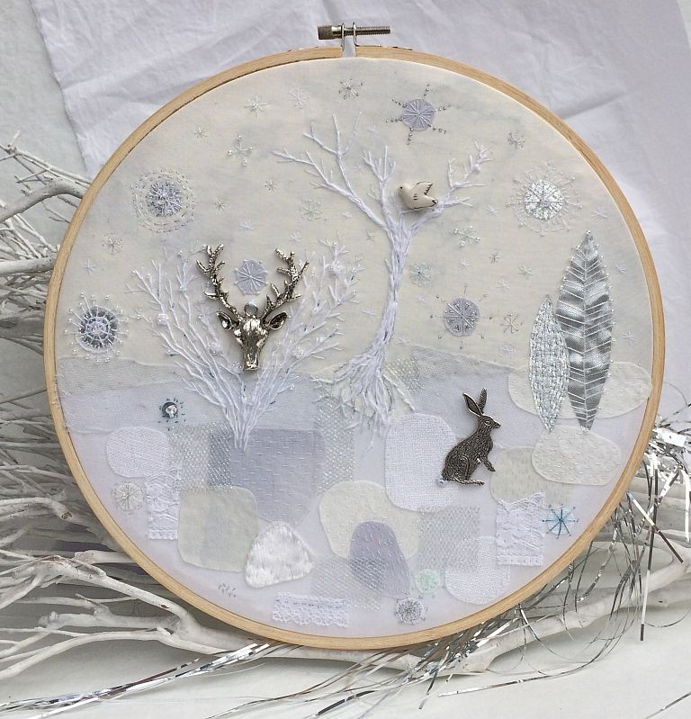 Winter morning in embroidery