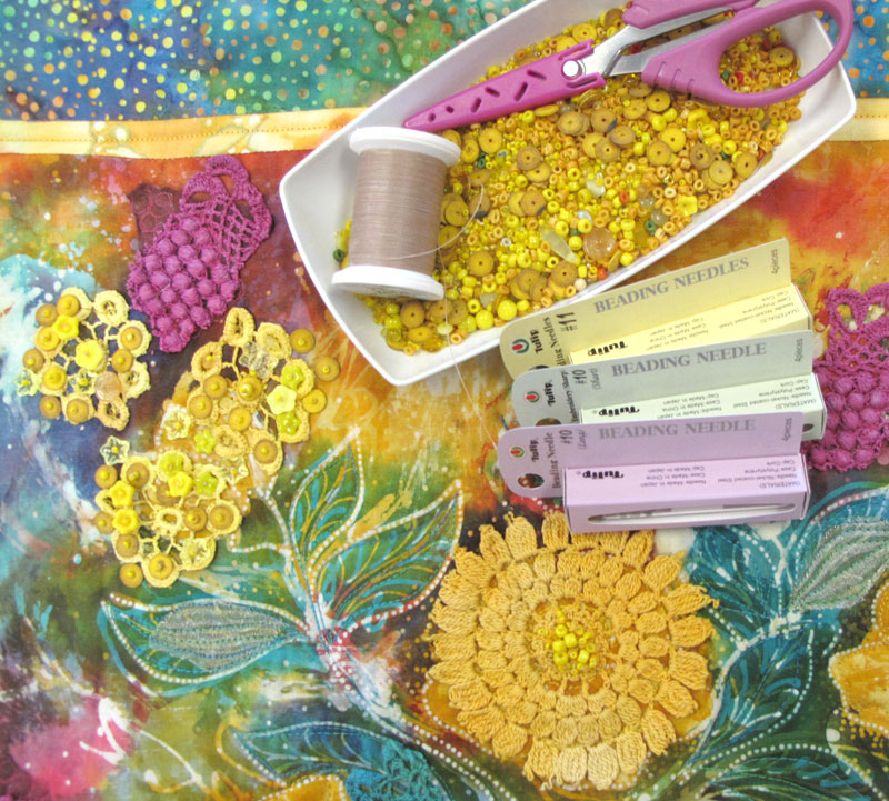 Batik flowers with beading supplies