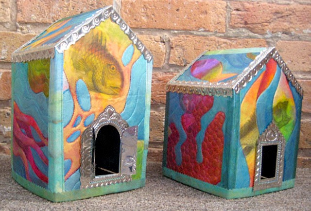 Little art houses made by Judy Coates Perez