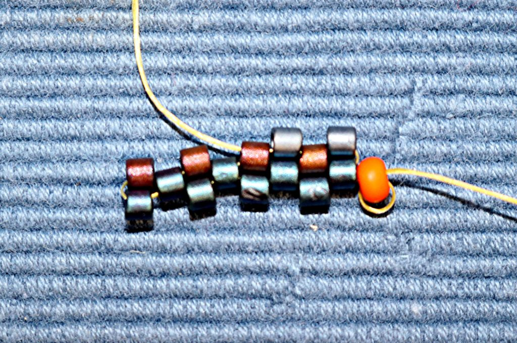 Even Count Flat Peyote Stitch 2nd bead on the 4th row
