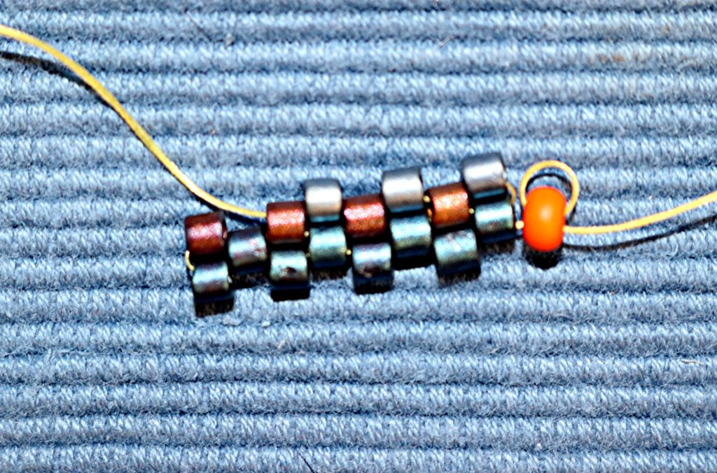 Even Count Flat Peyote Stitch the 3rd bead on the 4th row