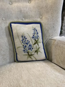 Bluebonnet needlepoint pillow