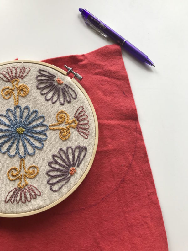 Finish embroidery hoop art tracing the felt
