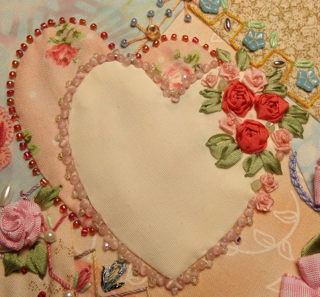 Heart beading and embroidery