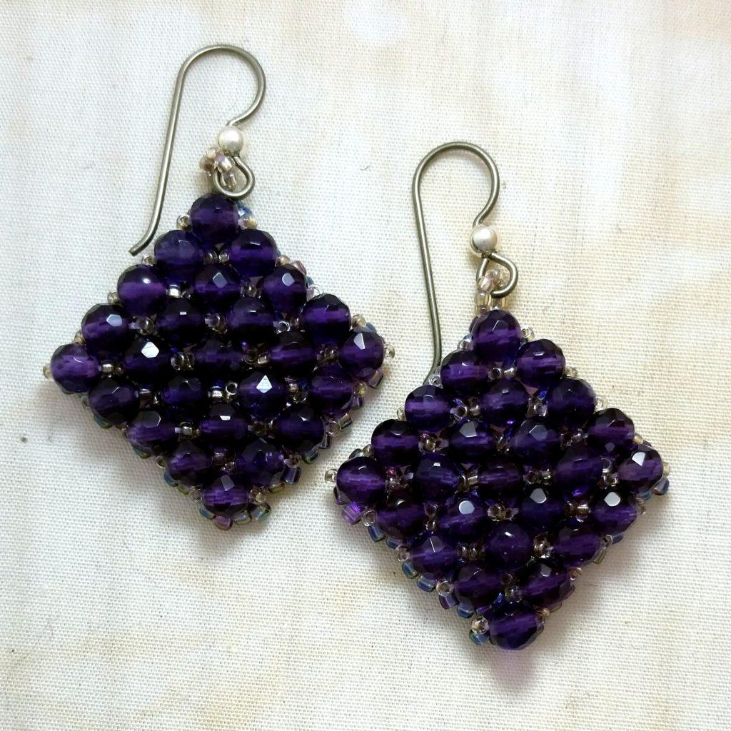 Right angle weave amethyst earrings