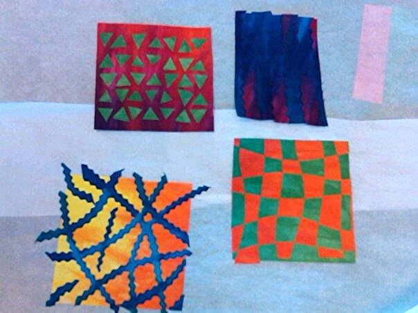 Collage mini fabrics used in fused art quilt