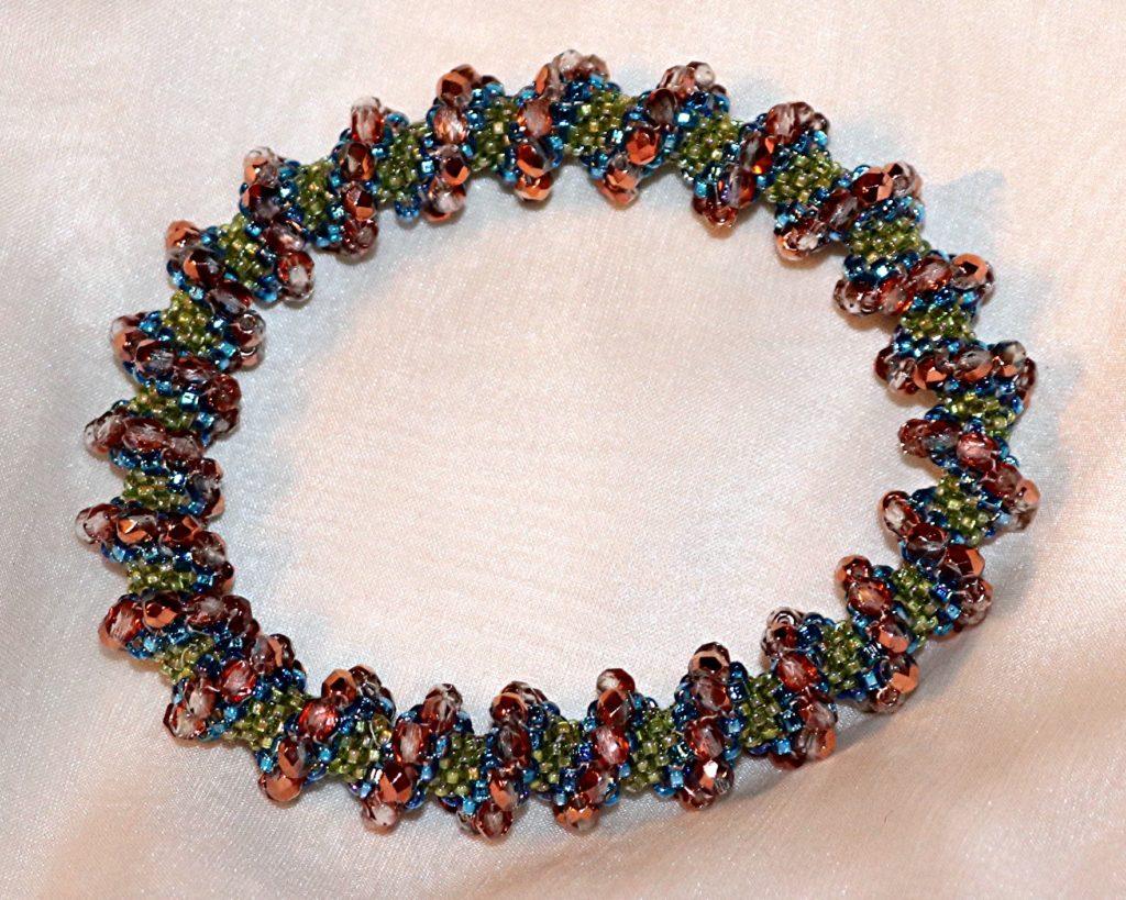 Copper and Green Cellini Spiral Bangle Bracelet
