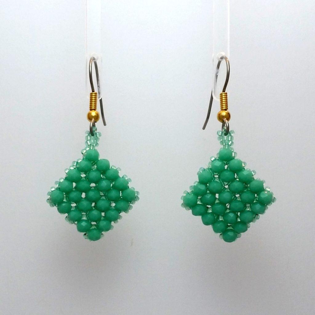 Right Angle Weave mint fire polish earrings