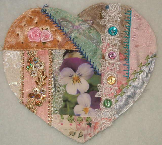 Heart crazy quilting