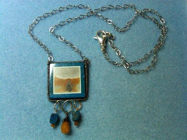 jasper silver wire wrap pendant