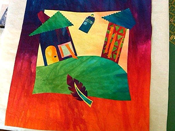 Fused art quilt in progress