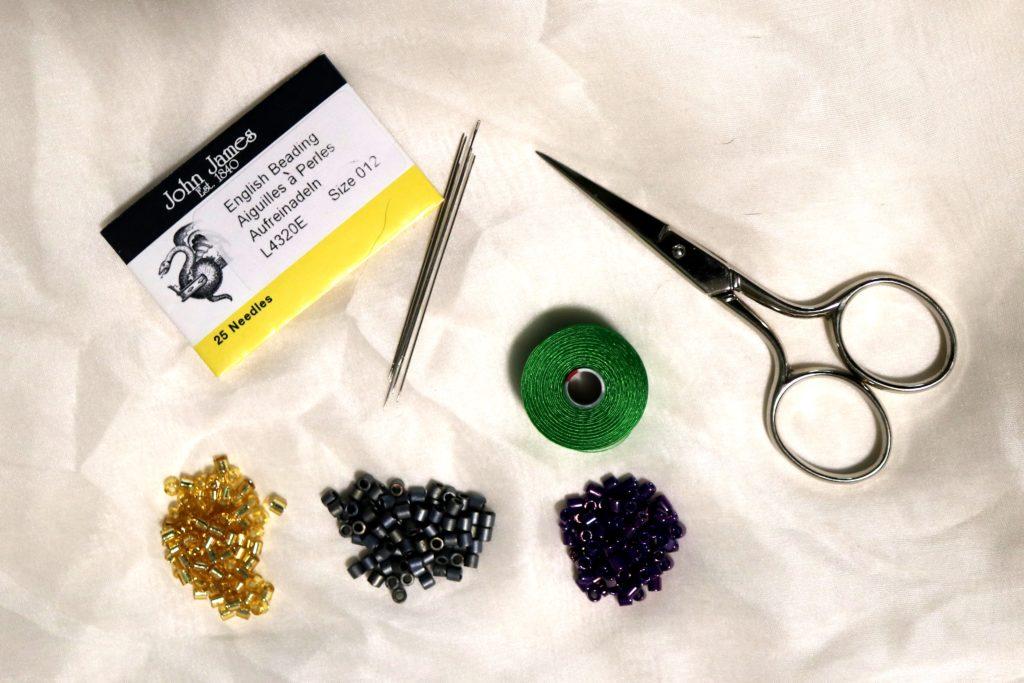 Supplies for making a herringbone rope