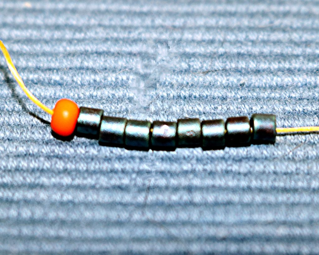 Even Count Flat Peyote Stitch step 2, add 8 beads