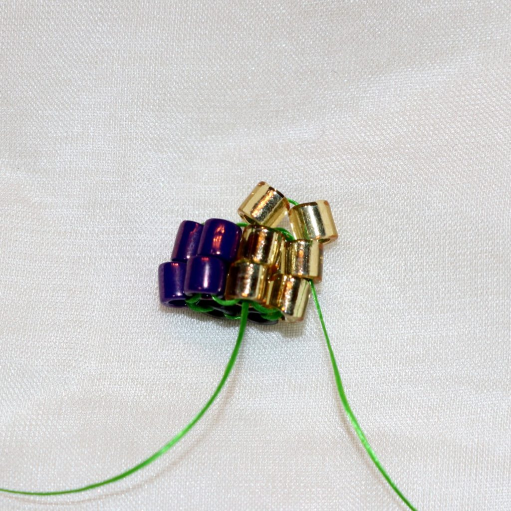 The first 2 beads in herringbone rope beading