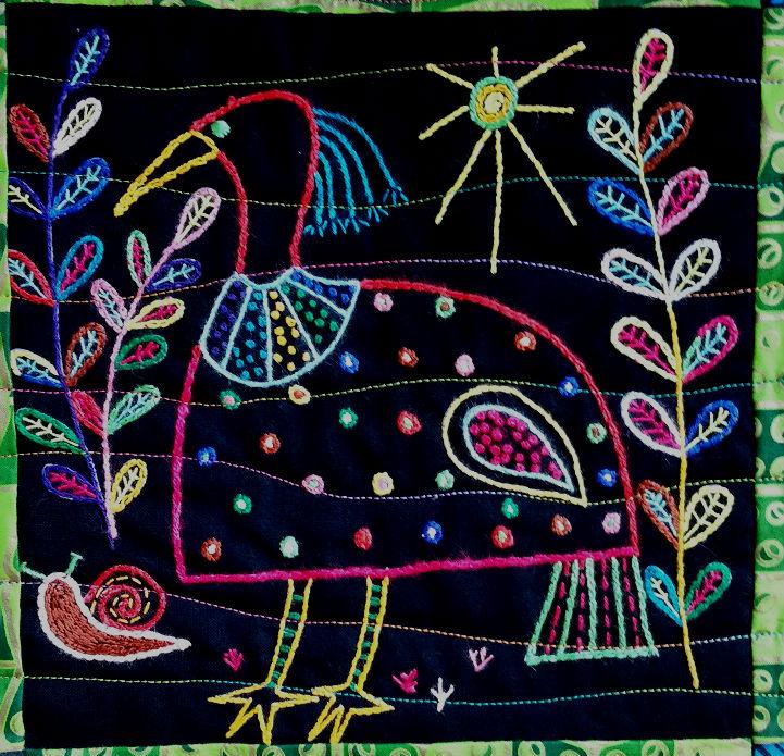 African Folklore birds block 3 - a little sunshine