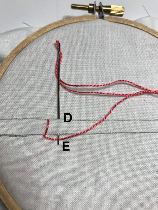Starting the second stitch for the blanket stitch