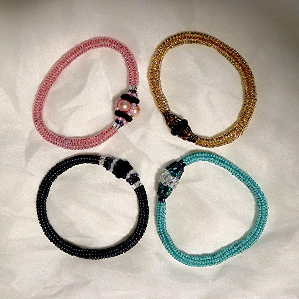 Tubular Herringbone Bangle Bracelets