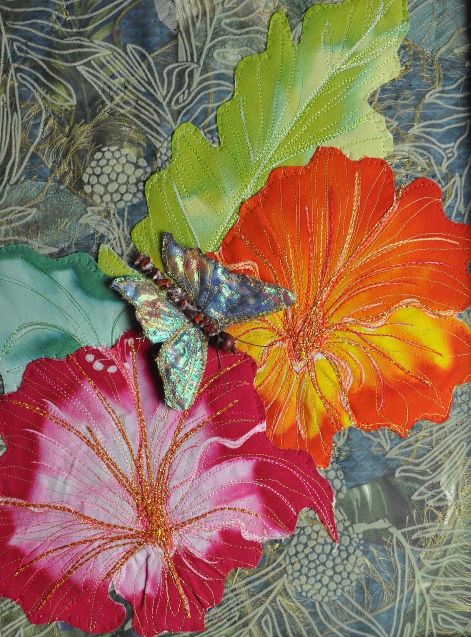 Donna Dowdney Pink and Orange Flowers with Butterfly