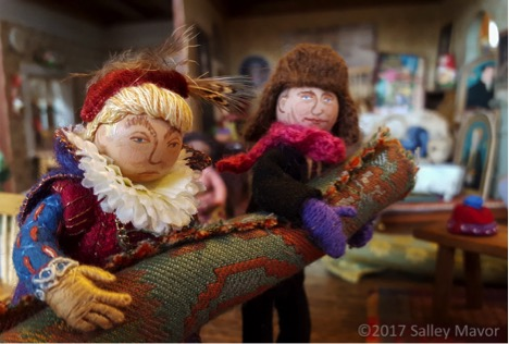 Close up of Salley's dolls