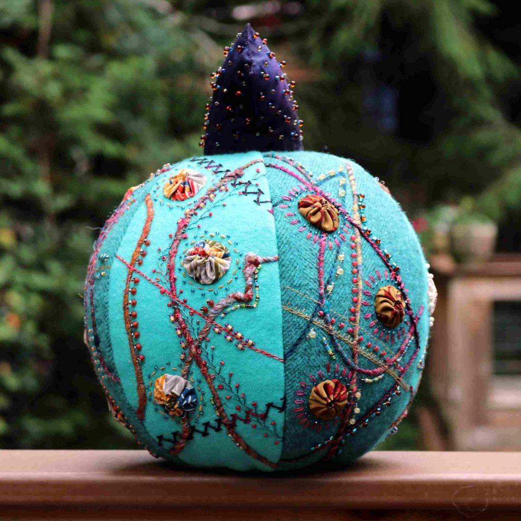 Crazy Embroidered Pumpkin View 1