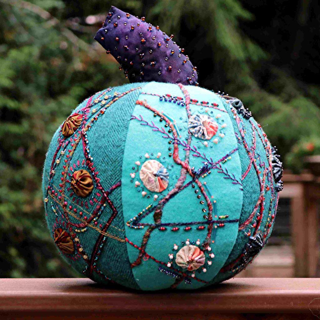 Crazy Embroidered Pumpkin View 2