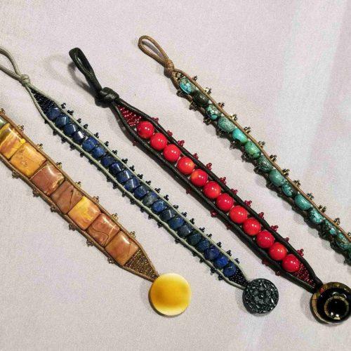Sewn Gemstone Bracelets 4 finished bracelets