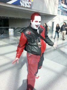 Dressed as Harley Quinn