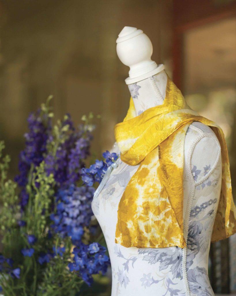 marigold dyed scarf by Nadeen Flynn