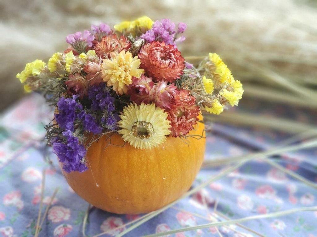 pumpkin dried flower arrangement by Chris McLaughlin
