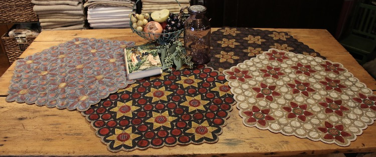 Wool Applique table toppers by Mary Blythe