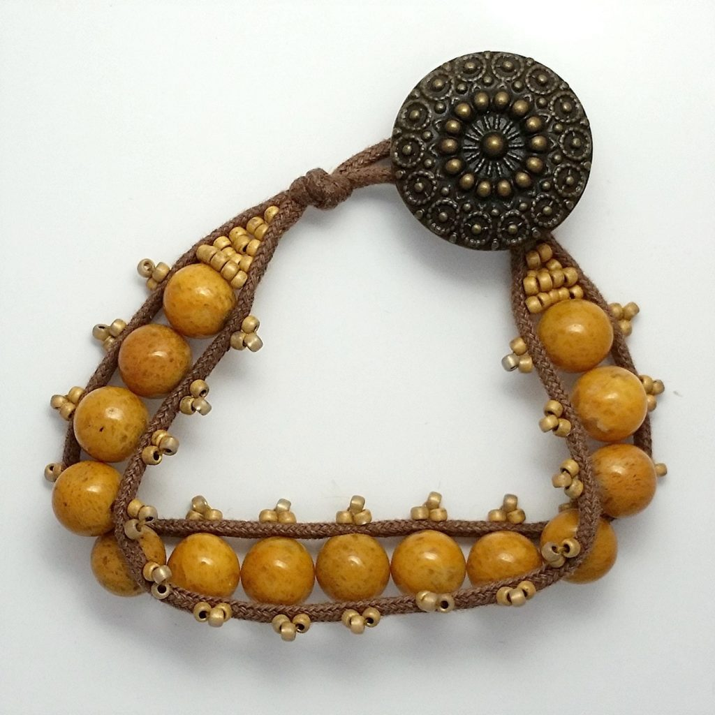 Sewn Gemstone Bracelets Yellow Jade