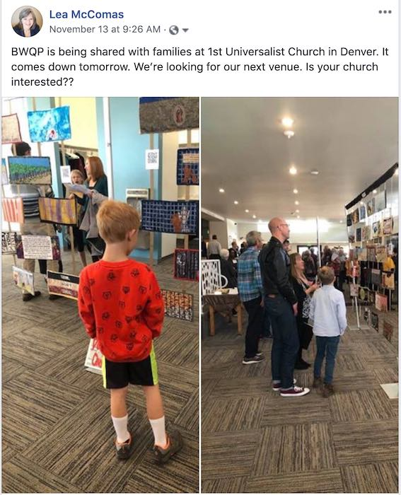 Border Wall Quilt Project exhibit at a church